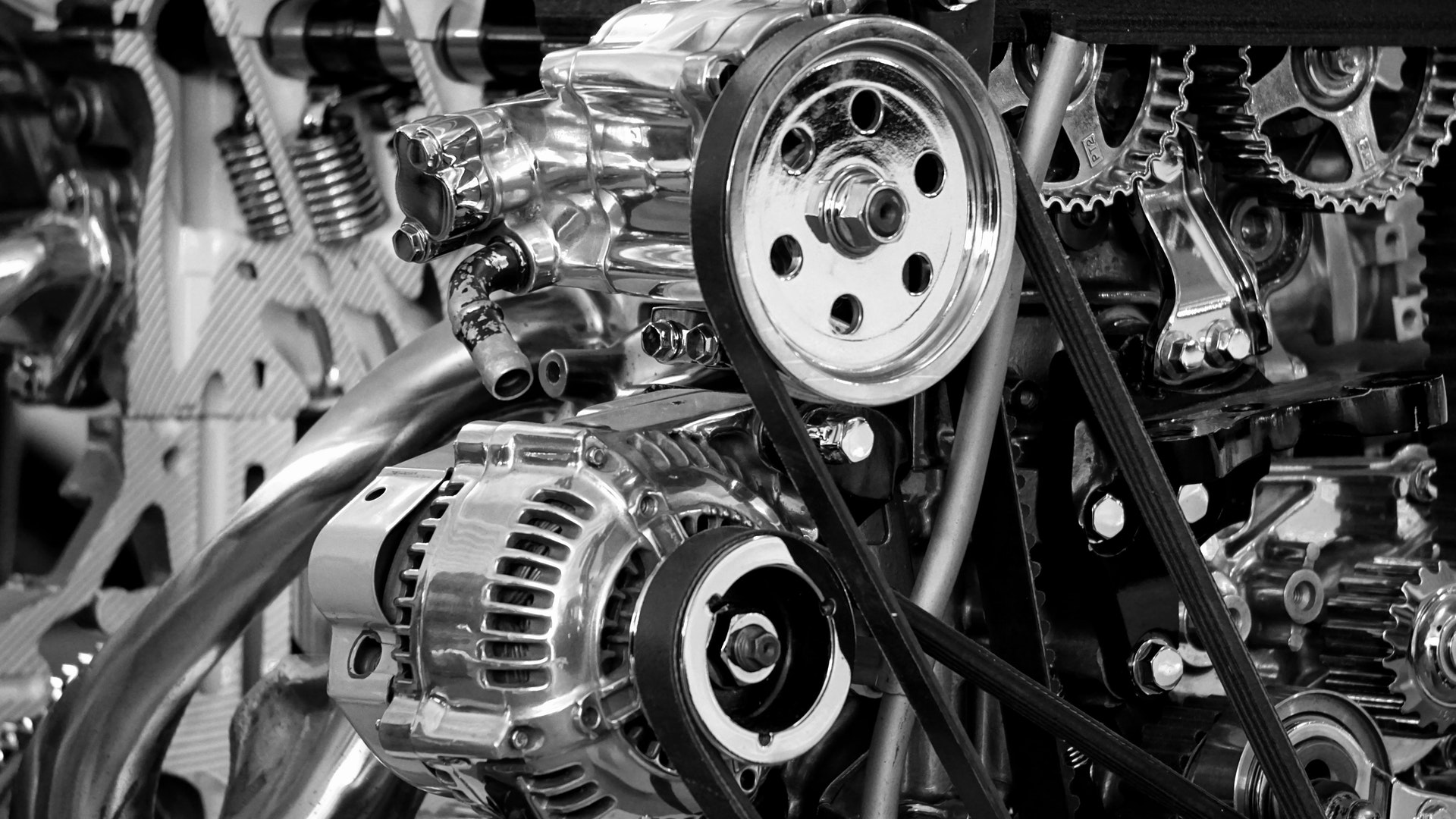 Car engine in black and white