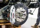 close up of wheel brakes