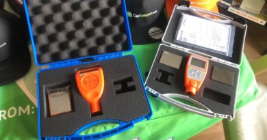 paint thickness gauges in boxes