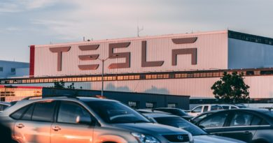 Electric and petrol cars sat in tesla parking lot