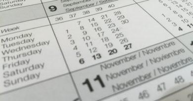 calendar showing dates
