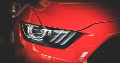 Car headlights close up