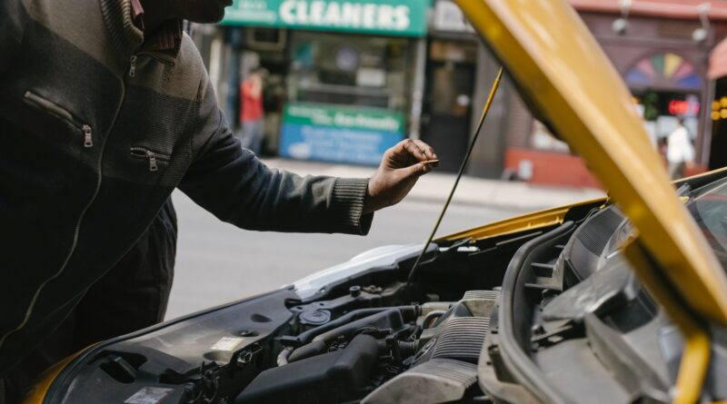 Car inspection taking place on street