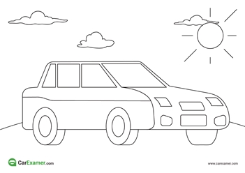 colouring images hauses, people, cars, plane sky, sun, kids